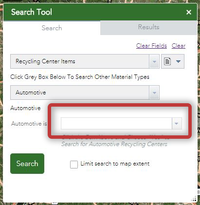 screen shot of search tool