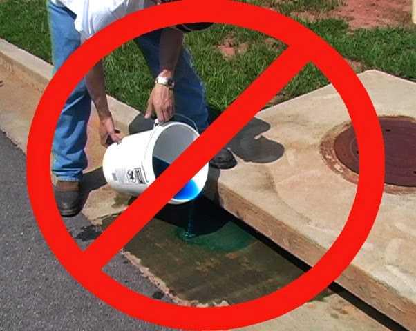 Don't dump chemicals into storm drains!